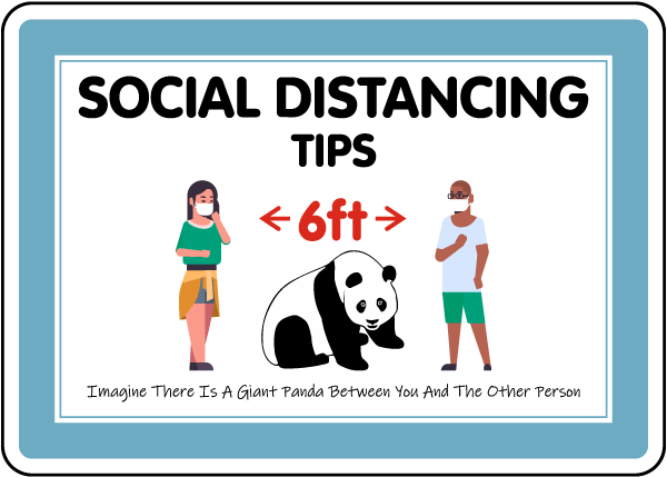 Social Distancing Tips Panda Sign
