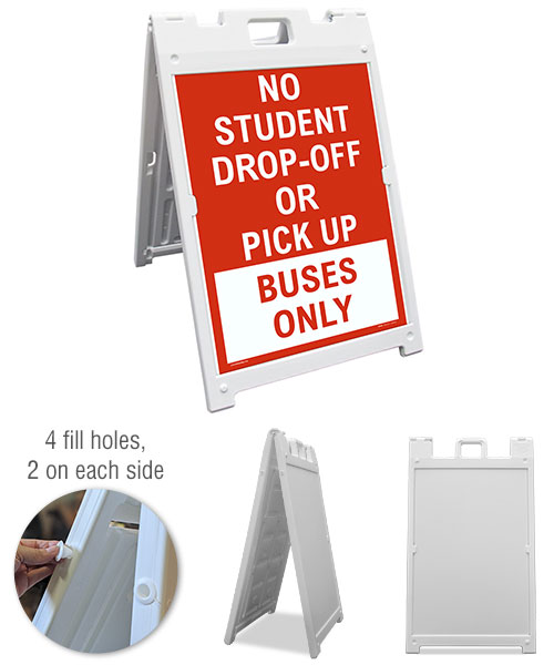 No Student Drop-Off or Pick Up Buses Only Sandwich Board Sign