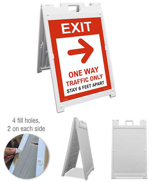 Exit One Way Traffic Only Right Arrow Sandwich Board Sign