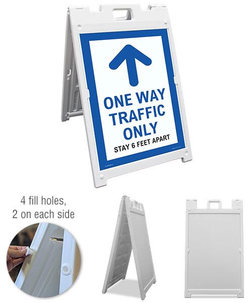 One Way Traffic Up Arrow Sandwich Board Sign
