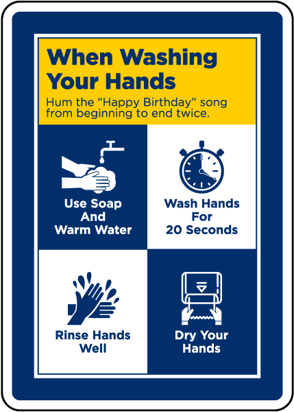 When Washing Your Hands Hum Happy Birthday Sign