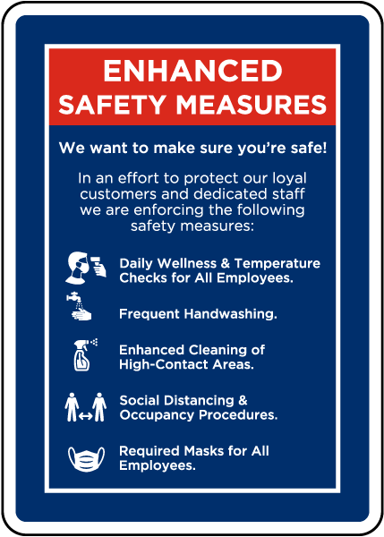Enhanced Safety Measures Sign