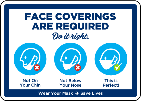 Do it Right Face Coverings Required Sign