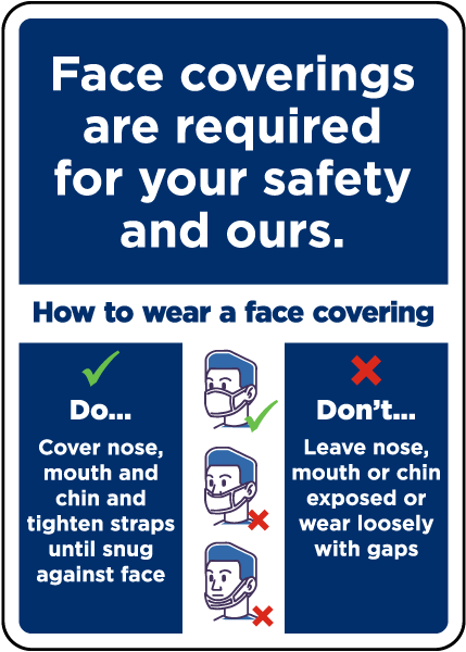 Face Coverings Required For Your Safety and Ours Sign
