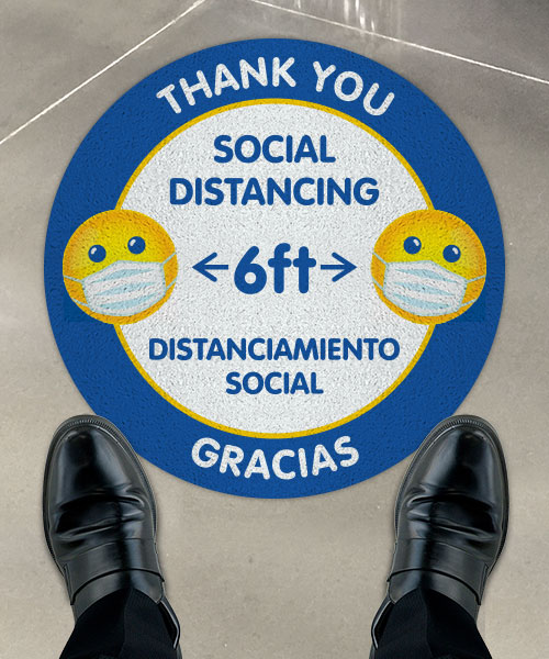Bilingual Thank You For Social Distancing Floor Sign