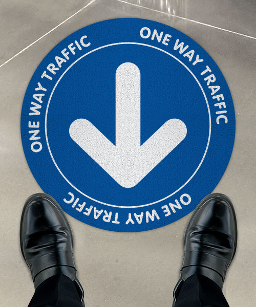 One Way Traffic Blue Floor Sign