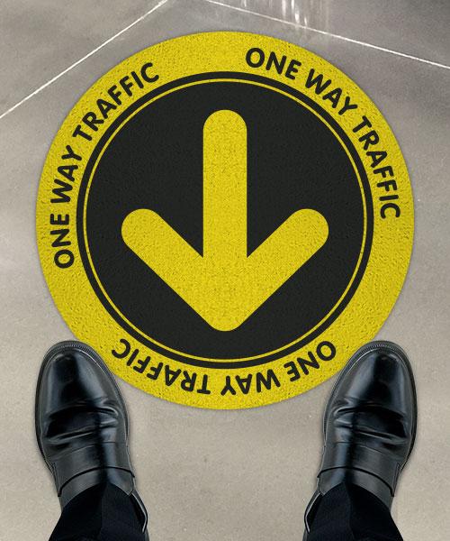 One Way Traffic Yellow/Black Floor Sign