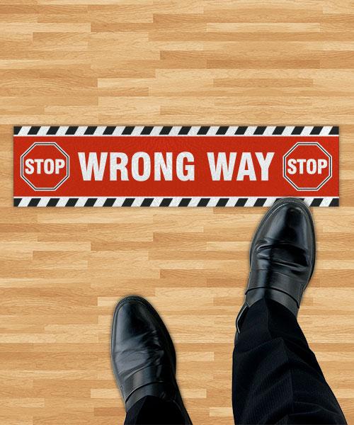 Stop Wrong Way Floor Sign