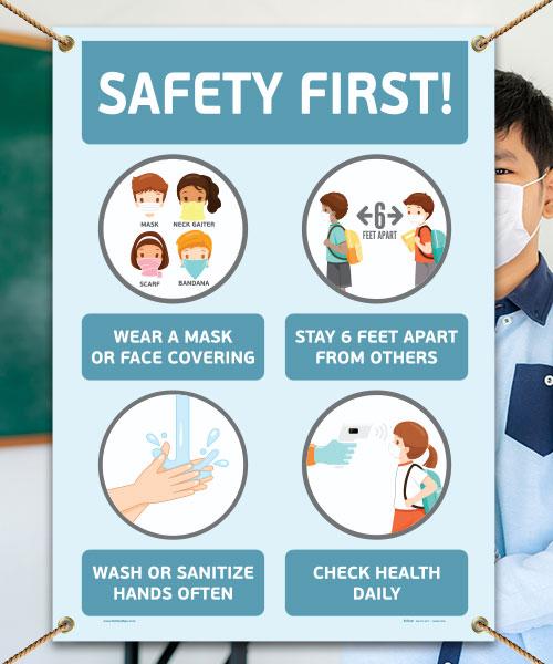 Safety First! Wear a Mask Childrens Banner