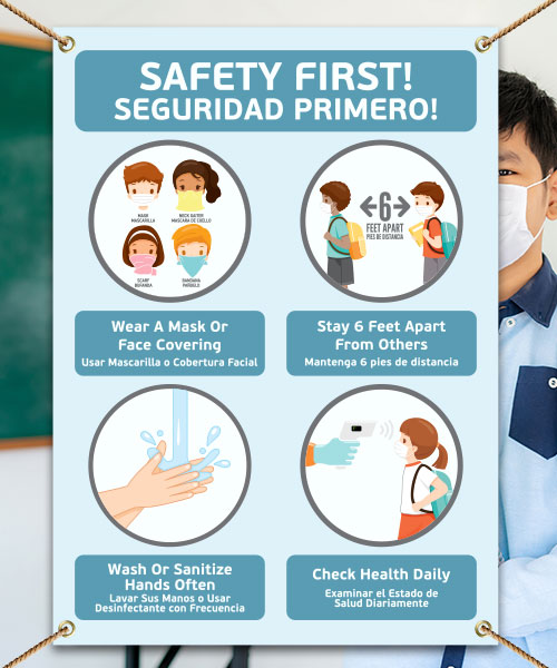 Bilingual Safety First! Wear a Mask Childrens Banner