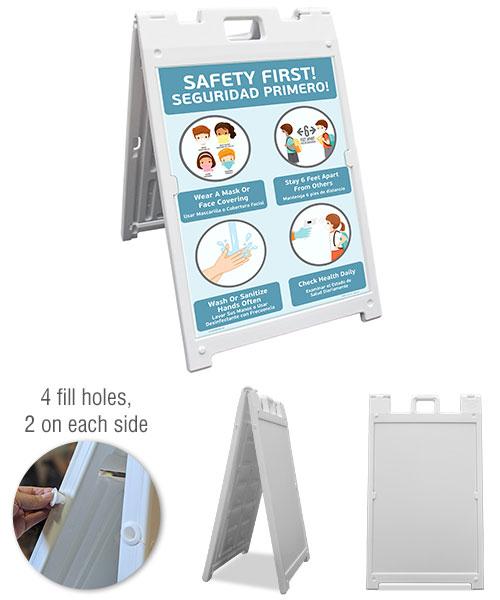 Bilingual Safety First! Wear a Mask Childrens Sandwich Board Sign