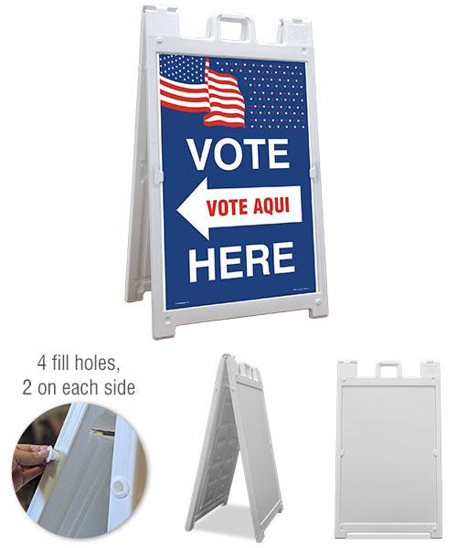 Vote Here Left Arrow Bilingual Sandwich Board Sign