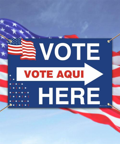 Vote Here Right Arrow Bilingual Banner