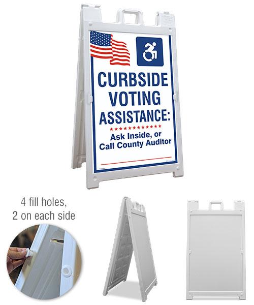 Curbside Voting Sandwich Board Sign