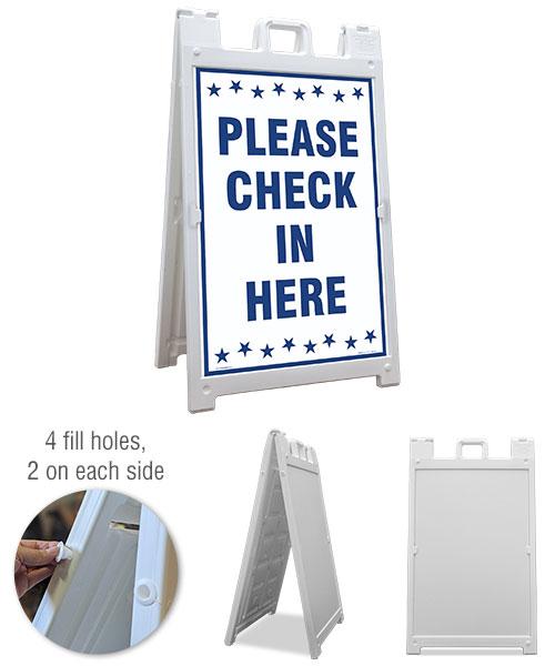 Please Check In Here Sandwich Board Sign