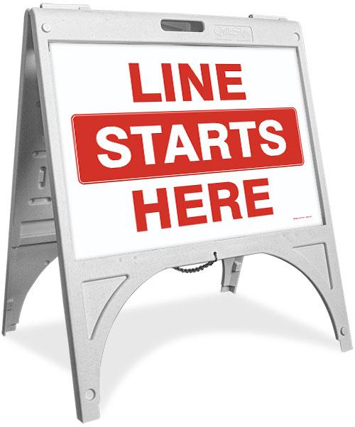 Line Starts Here Sandwich Board Sign