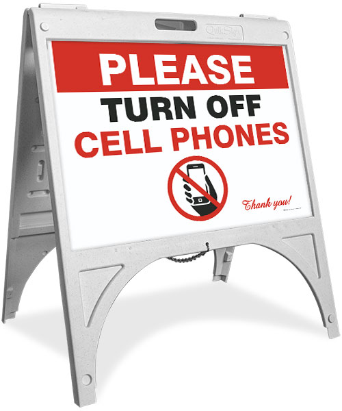 Please Turn Off Cell Phones Sandwich Board Sign