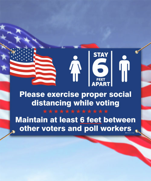 Social Distancing While Voting Banner