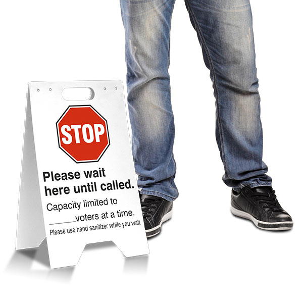 Stop Please Wait A-Frame Sign