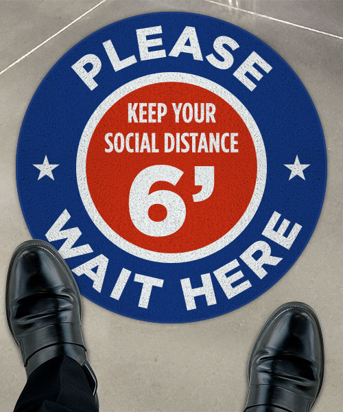 Please Wait Here Stay 6 Ft Apart Floor Sign