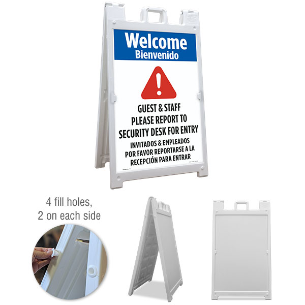 Bilingual Welcome Guest & Staff Please Report To Security Desk For Entry Sandwich Board Sign