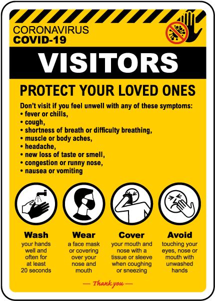Visitors Coronavirus Infection Control Sign