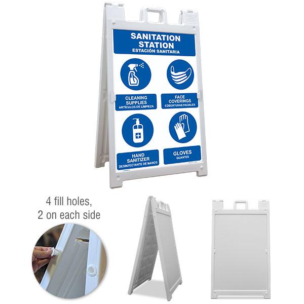 Bilingual Sanitation Station Sandwich Board Sign