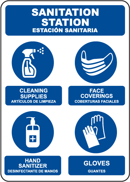 Bilingual Sanitation Station Sign