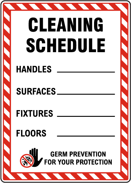 Cleaning Schedule Germ Prevention Sign