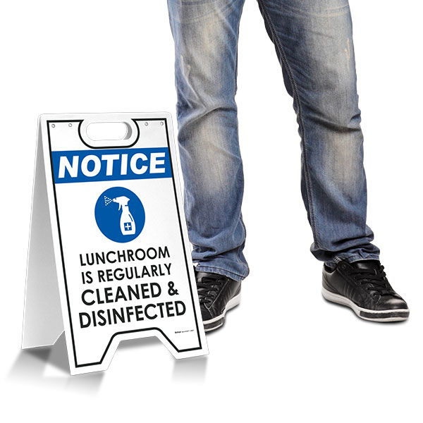 Notice Lunchroom is Regularly Cleaned and Disinfected Floor Stand