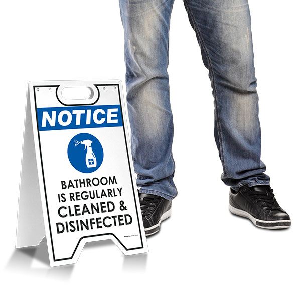 Notice Bathroom is Regularly Cleaned and Disinfected Floor Stand