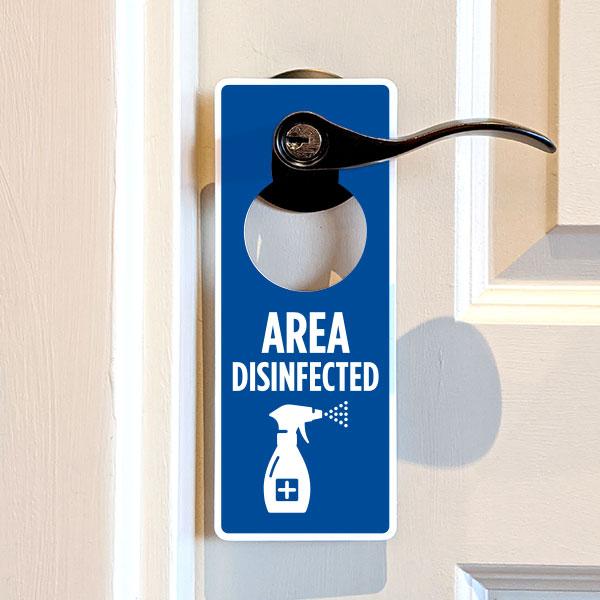 Area Disinfected Door Hanger
