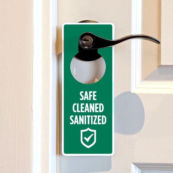 Safe Cleaned Sanitized Door Hanger