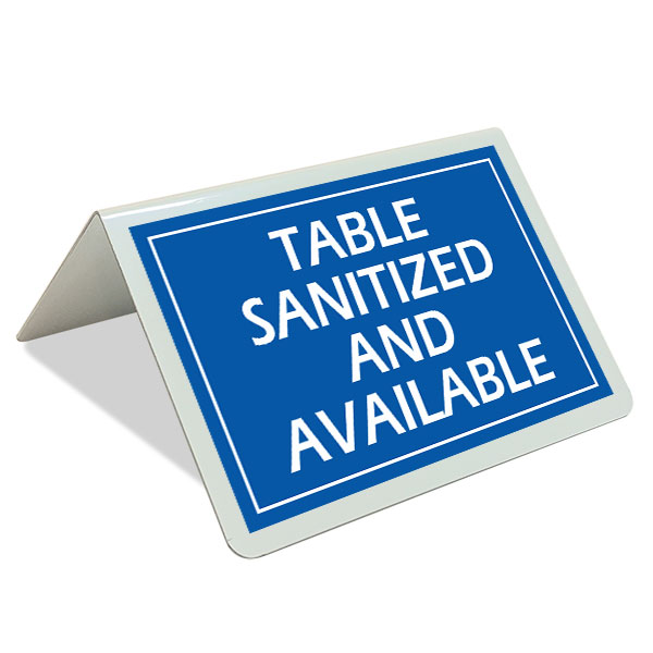 Table Sanitized and Available Tent Sign