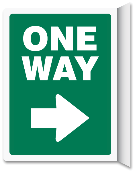 One Way Right Arrow Vertical Wall Projecting Sign