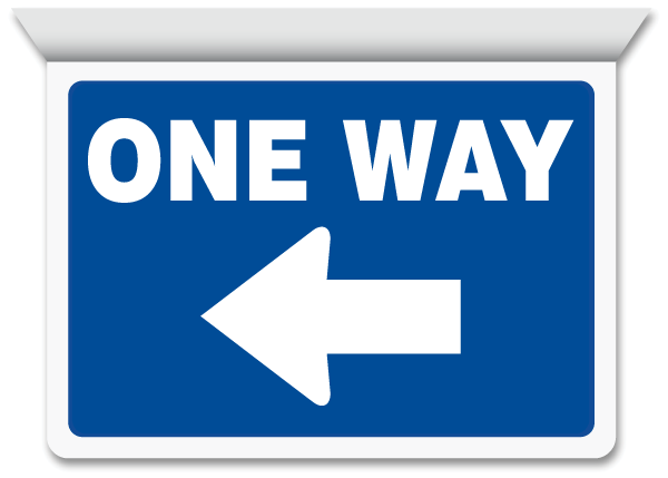 One Way Left Arrow Horizontal Projecting Sign