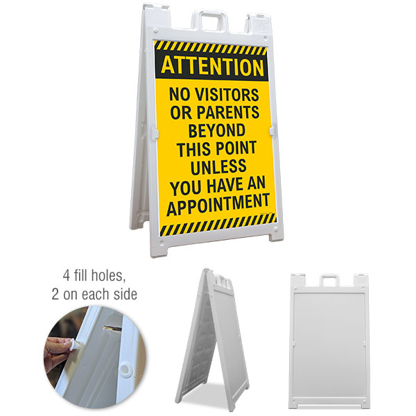 Attention No Visitors or Parents Sandwich Board Sign