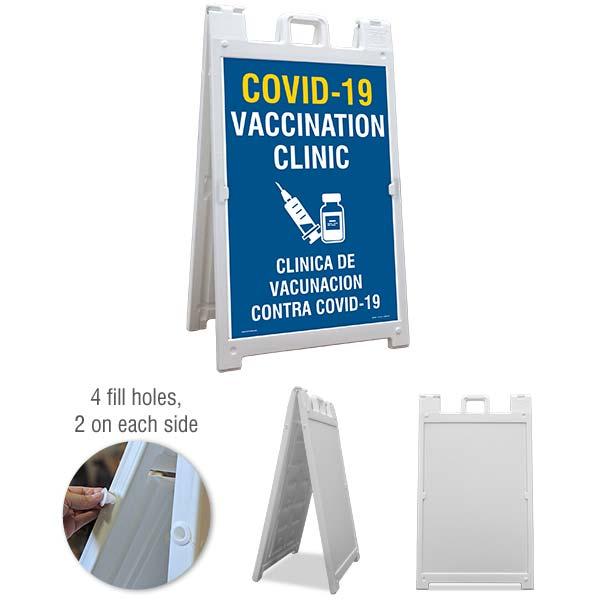 Bilingual COVID-19 Vaccination Clinic Sandwich Board Sign