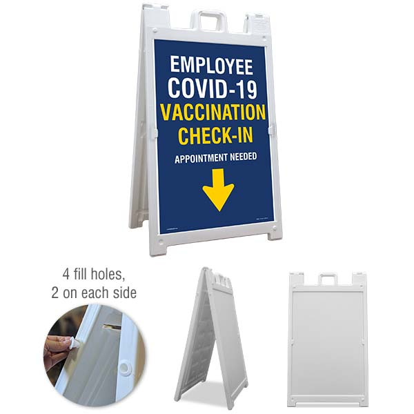 Employee COVID-19 Vaccination Check-In Down Arrow Sandwich Board Sign