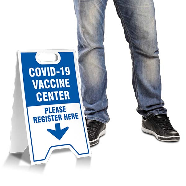 COVID-19 Vaccine Center Register Here A-Frame Sign