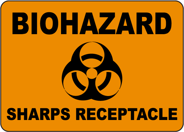 Biohazard Sharps Receptacle Sign