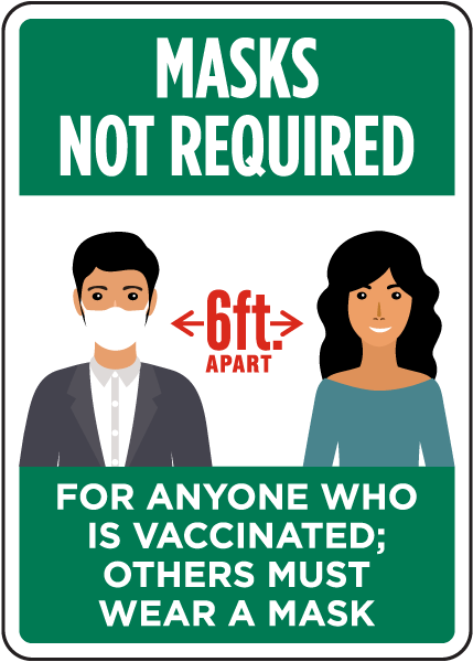 Masks Not Required For Anyone Who Is Vaccinated Sign
