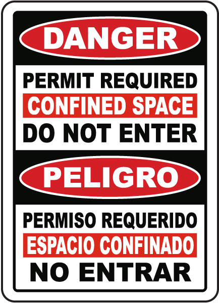 Bilingual Permit Required Confined Space Sign
