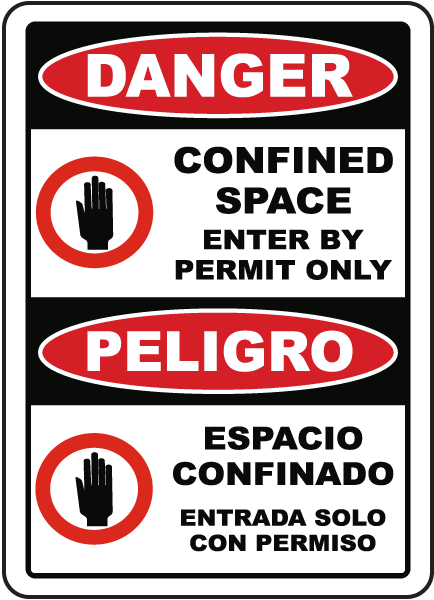 Bilingual Danger Enter By Permit Only Sign