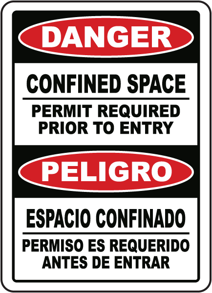Bilingual Permit Required Prior To Entry Sign
