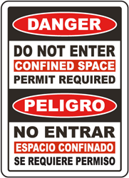 Bilingual Do Not Enter Confined Space Permit Required Sign