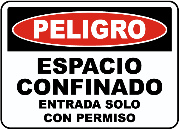 Spanish Confined Space Entry By Permit Only Label