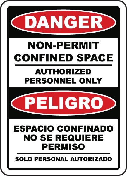 Bilingual Danger Non-Permit Confined Space Label