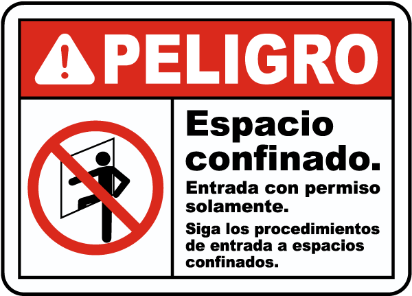 Spanish Danger Follow Entry Procedures Sign