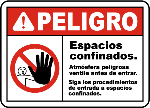 Spanish Danger Hazardous Atmosphere Sign